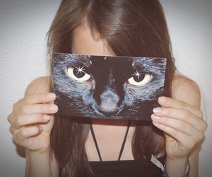 girl, cat, and eyes image