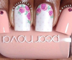 flower, nails, and pink image