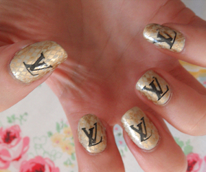 gold, Louis Vuitton, and nails image