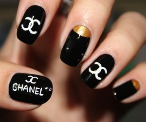 black, coco chanel, and nails image