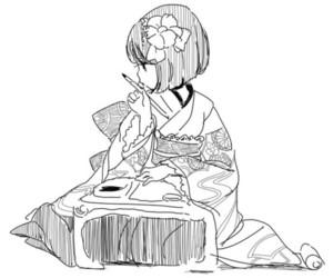 anime girl, drawing, and art image
