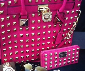 pink, bag, and watch image