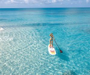 beach, paddle, and bikini image