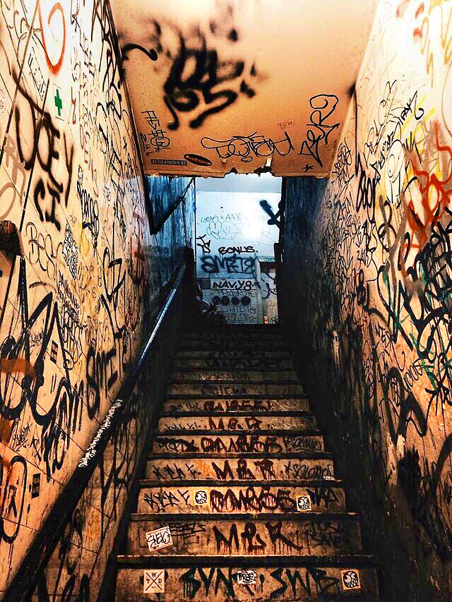 Iphone Wallpaper Of Graffiti Tagged Stair Well