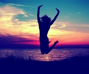 summer, sunset, and jump image