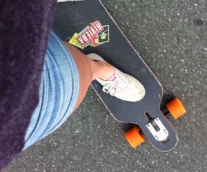 longboard, girl, and vans image