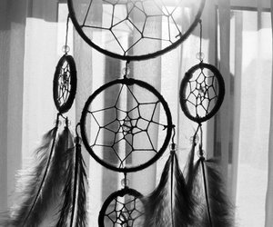 b&w, black and white, and dreamcatcher image