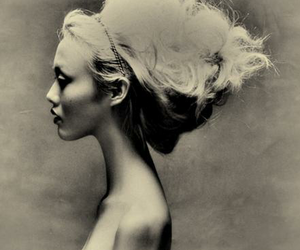 hair, black and white, and photography image