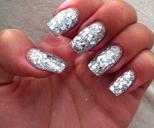 nails, silver, and glitter image