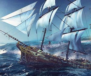 black flag, cool, and ship image