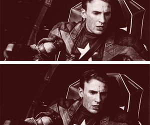 black and white, captain america, and chris evans image