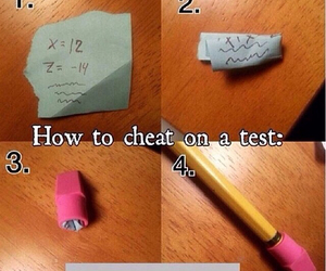 cheat, test, and pencil image