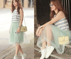 coral skirt, bunny hunny, and striped top image