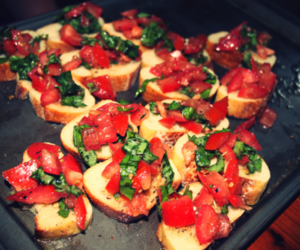 basil, bruschetta, and delicious image