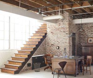 interior, stairs, and brick image
