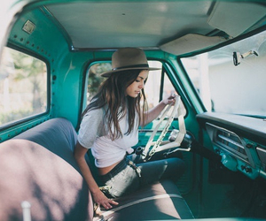 girl, car, and hat image