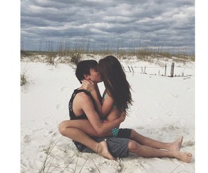 beach, couple, and cute image