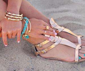 beach, blue, and bracelet image