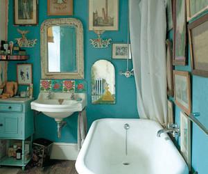bathroom, blue, and vintage image