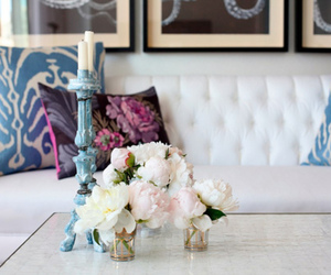 flowers, candle, and living room image