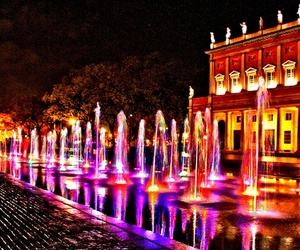 fountain, lights, and night image
