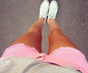 pink, converse, and shorts image