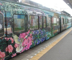 train, flowers, and art image