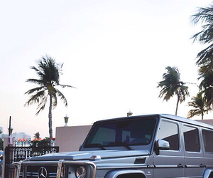 car, mercedes benz, and palm trees image