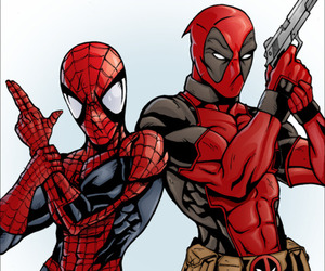 comic, deadpool, and spider-man image