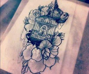 bird, flowers, and tattoo image