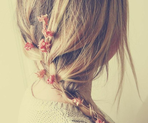 blonde, red, and flowers image