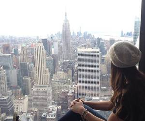 empire state, hair, and skyline image