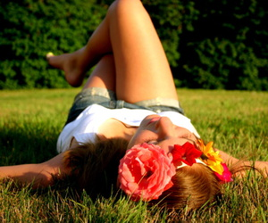flower, love, and grass image