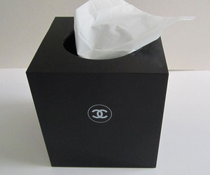 chanel, black, and tissue image