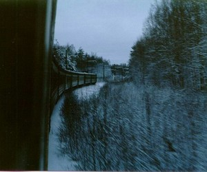 train, winter, and forest image