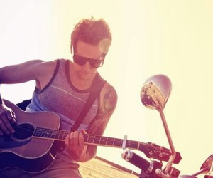 pierre bouvier, simple plan, and guitar image