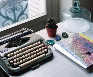 vintage, typewriter, and book image