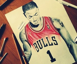 Basketball, bulls, and derrick rose image