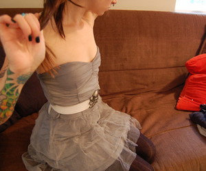 couch, outfit, and dress image