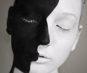 black and white, art, and make up image