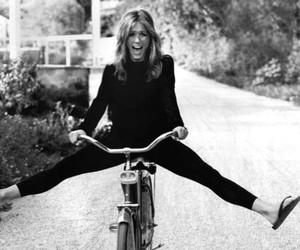 Jennifer Aniston, bike, and black and white image