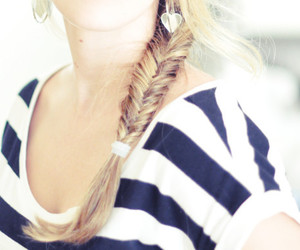 hair, blonde, and stripes image