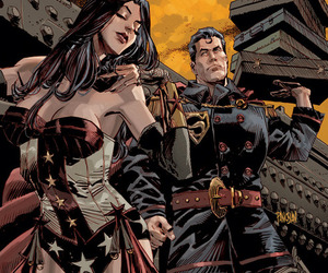comic, superman, and wonder woman image