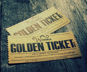 wonka, chocolate, and golden ticket image