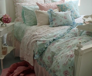 pastel, shabby chic, and bed image
