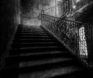 black and white, creepy, and scary image
