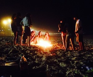 night, friends, and beach image
