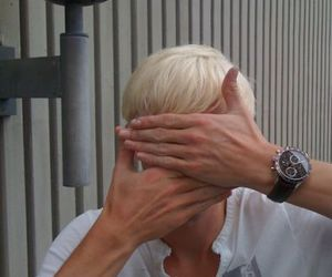 big hands, blonde, and peek-a-boo image