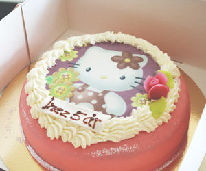 birthday cake, hello kitty, and birthday image