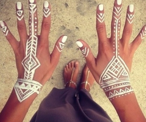 white, henna, and hands image
